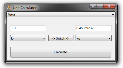 Screenshot of the unit calculator